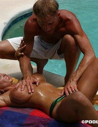 Milf sucking cock by the pool